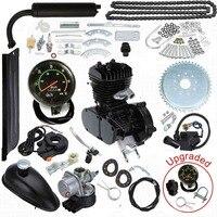 Обновлен 80cc 2 ход моторизованный велосипед газовый двигатель мотор комплект с спидометр черный низкий Шум низкий уровень вибрации тяжелые