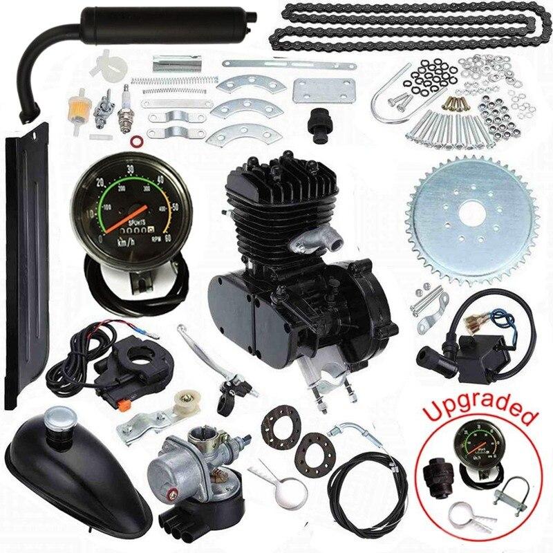 Mis à jour 80cc 2 Temps Mécanique De Vélos Gaz Moteur Moteur Kit avec Compteur De Vitesse Noir Low Low Noise Vibration Heavy Duty Métal
