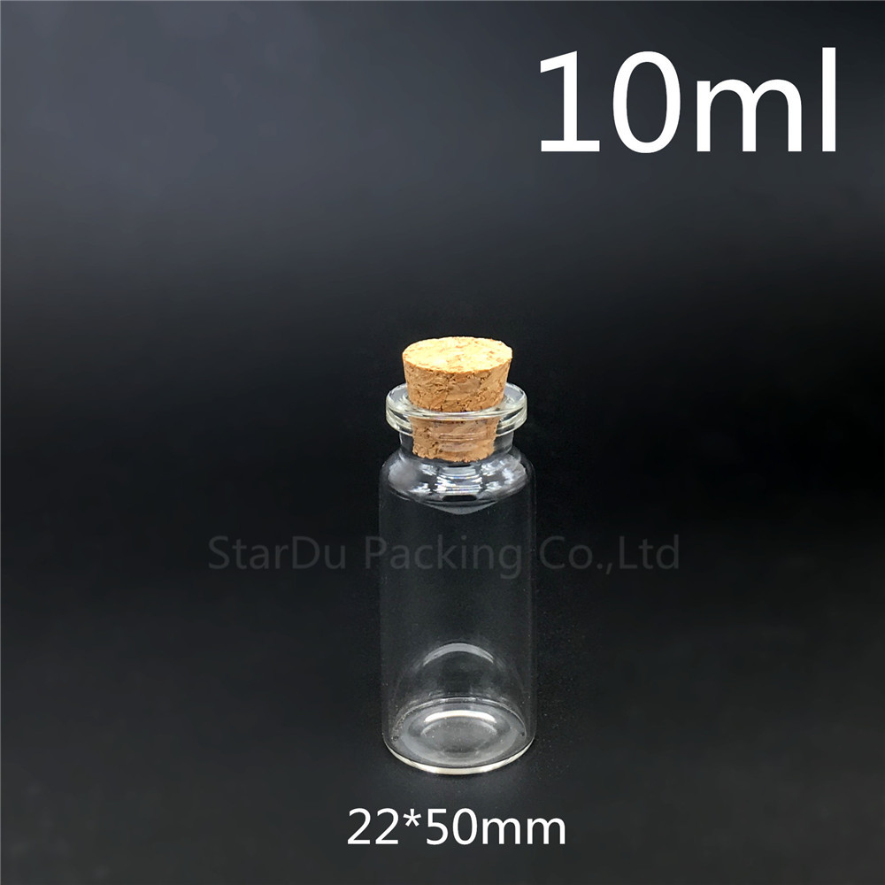 Free Shipping 30pcs 10ml Small Cute Mini Cork Stopper Glass Bottles Vials Jars Containers  1/3oz Small Wishing Bottle With Cork