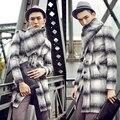 Runway estilo mens caliente lanas invierno 2017 moda masculina franja térmica prendas de vestir exteriores de los hombres abrigo de lana de Lana y Mezclas