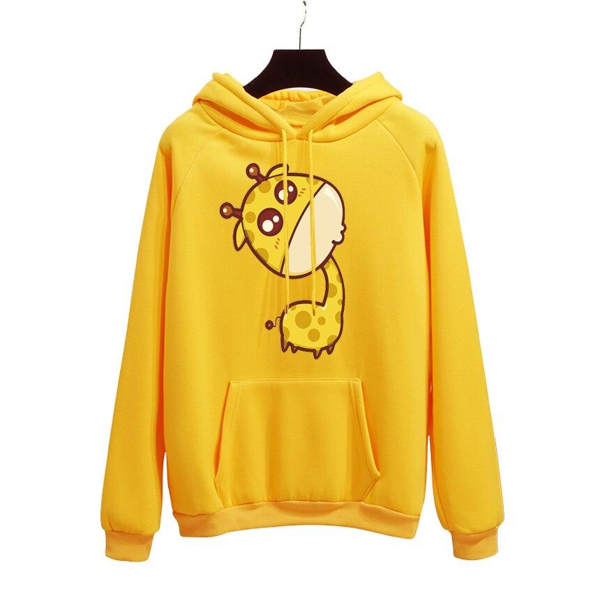 Cute Giraffe Print Harajuku Hoodies Women 2019 Autumn Winter Office Lady Pullover Thick Loose Moletom Feminino Clothe Coat
