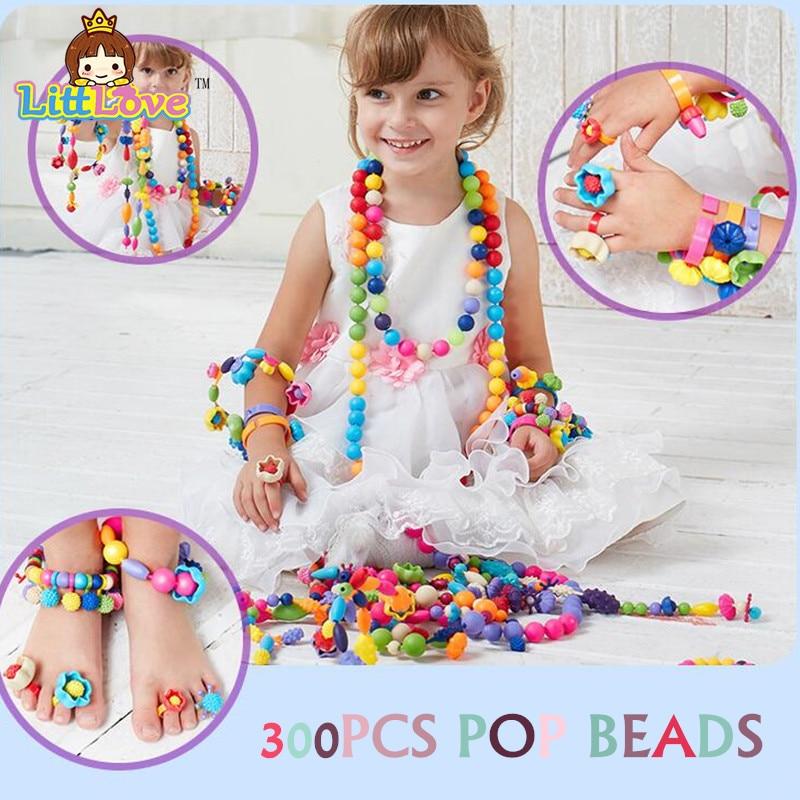 LittLove 200 pcs DIY Pop Beads Jewelry Fashion Toy Anak Belajar Awal Blok Pendidikan Kreatif Mainan Untuk Anak-anak Hadiah H ...