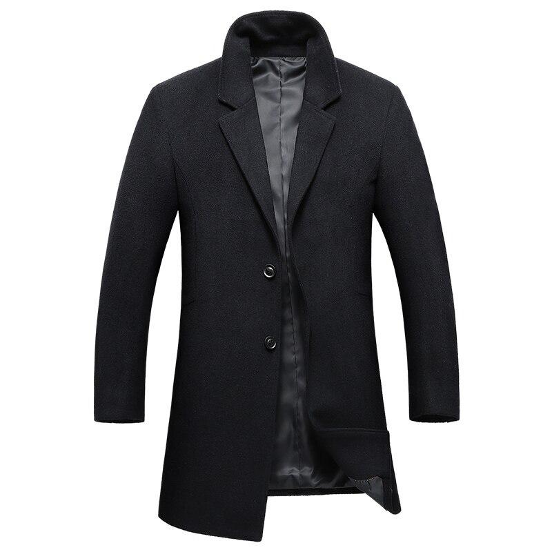 2018 New Winter Wool Coat Men Long Trench Jacket Casual Turn-down Collar Woolen Overcoat Slim Fit Jacket Male Clothing