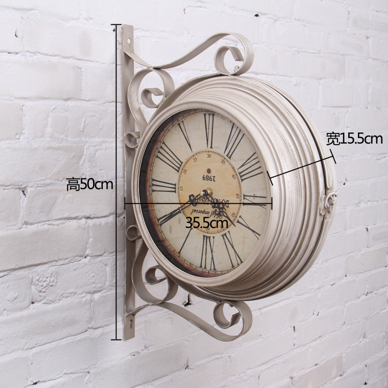 large retro double sided wall clock wrought iron wall. Black Bedroom Furniture Sets. Home Design Ideas