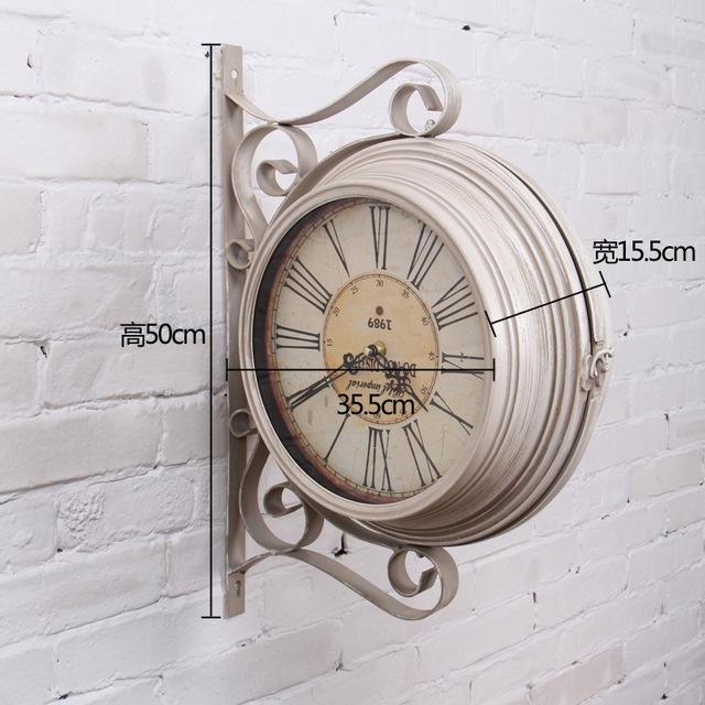Large Retro Double Sided Wall Clock Wrought Iron Wall Clock Big Clocks Decoration Wanduhr Wandklok Vintage Reloj Pared Relogio