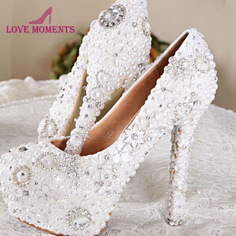 ⑧Color blanco hecho a mano vestido de boda Zapatos nupcial Zapatos ...