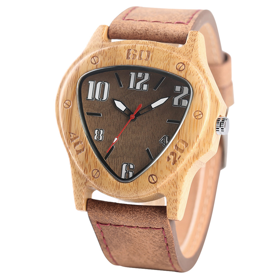 genuine leather band pink buckle quartz bamboo watches02