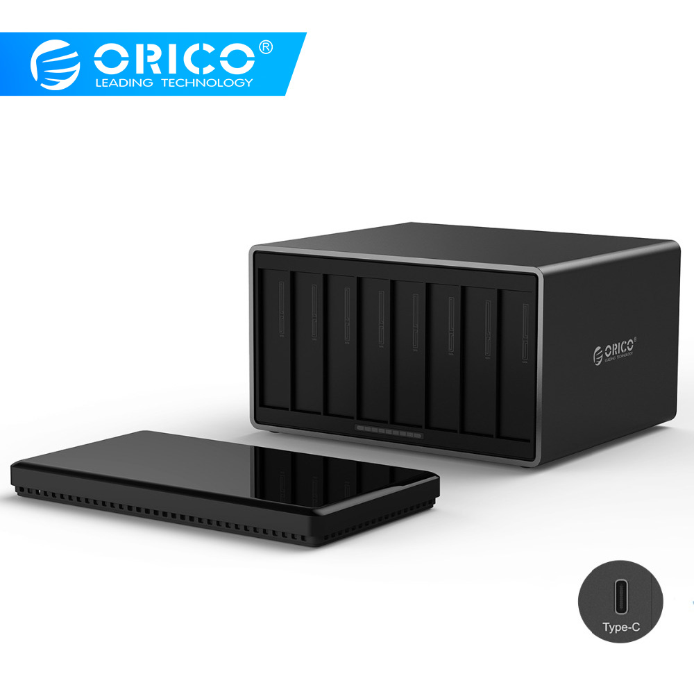 ORICO 3.5 Inch 8 Bay Type-C Hard Drive Enclosure SATA To USB 3.1 External Hard Drive Docking Station Support 80TB 5Gbps UASP