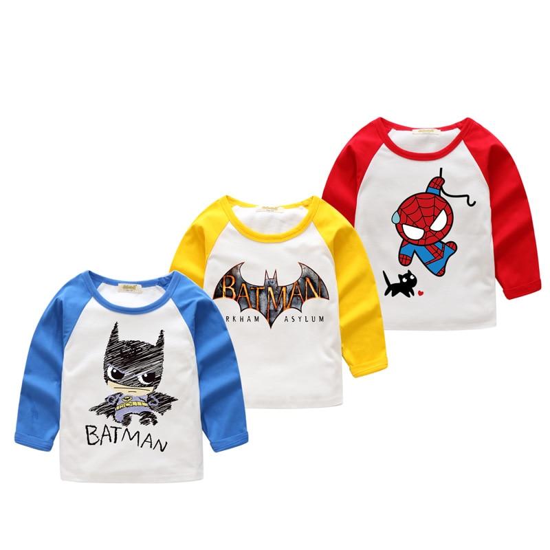 2018 New Years Children Long Sleeve Cartoon Batman Printing T-shirts Boy T Shirt Girls Patchwork 3D Print Tee Tops Clothes CX021 женская футболка 2015 harajuku t 3d rihanna t 3d print
