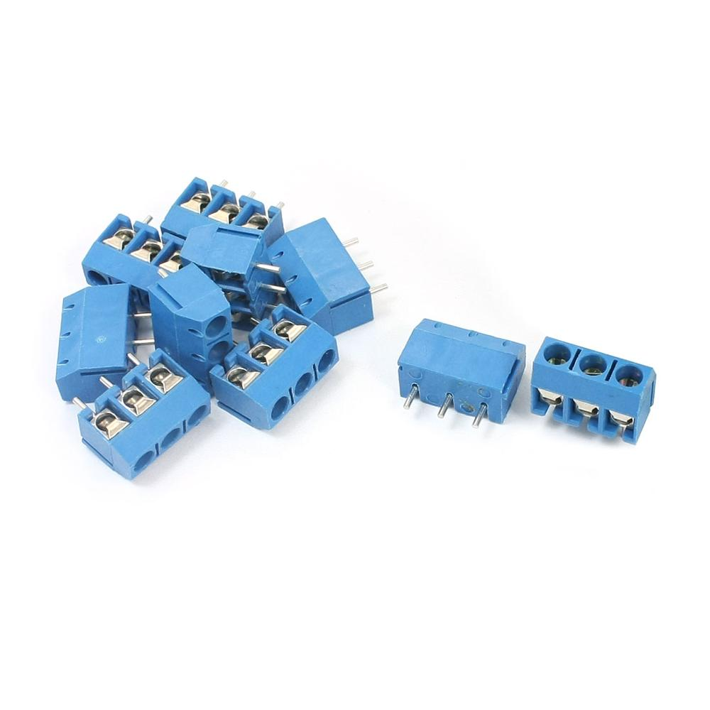 300V 12A 5.08Mm Pitch 3 Pins 3 Positions Pluggable Type Pcb Mounting Blue Plastic Screw Connect Terminal Block 10Pcs