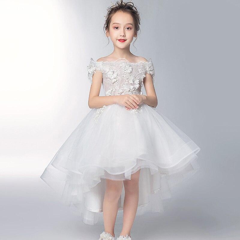 Романтичное свадебное платье подружки невесты с цветочным узором для девочек; Новинка года; длинное кружевное платье с украшением из бисера; праздничное платье с цветочным узором для девочек - Цвет: white