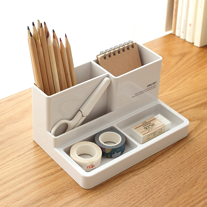 Deli Home Office Multifunction Pen Holder Stationary Storage Box title=