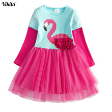 VIKITA Kids Girl Dress Flamingo Girl Princess Dresses Kids Cartoon Embroidery Vestidos Children Cotton Clothing Girls Tutu Dress недорого