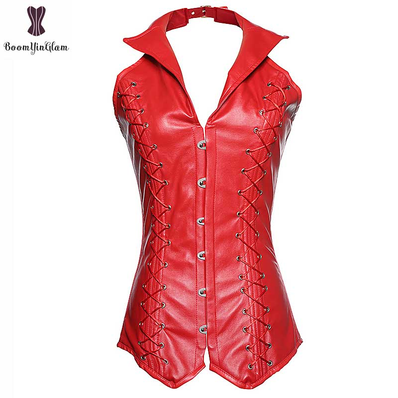Steampunk Vest Corset V-Neck Gothic Bustier Overbust Faux Leather Corselet Plus Size Solid Red Black Korset Steel Boned Corsets