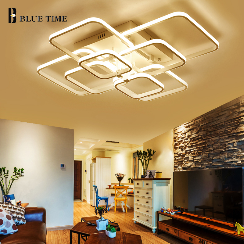 Blue Time Square Led Ceiling Light 36W 72W 108W Square Kitchen Modern LED Light FixtureLED Modern Led Ceiling Lamp For Bedroom metal iron art led ceiling panel light dimmable 12w 36w 48w 72w 108w 960 9720lm indoor lamp square for living room bedroom