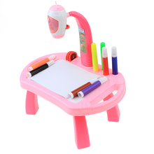 Pink Table Learning Machine Educational Toy Projection Pattern Projector Drawing Doodle Board Study Set for Kids Children