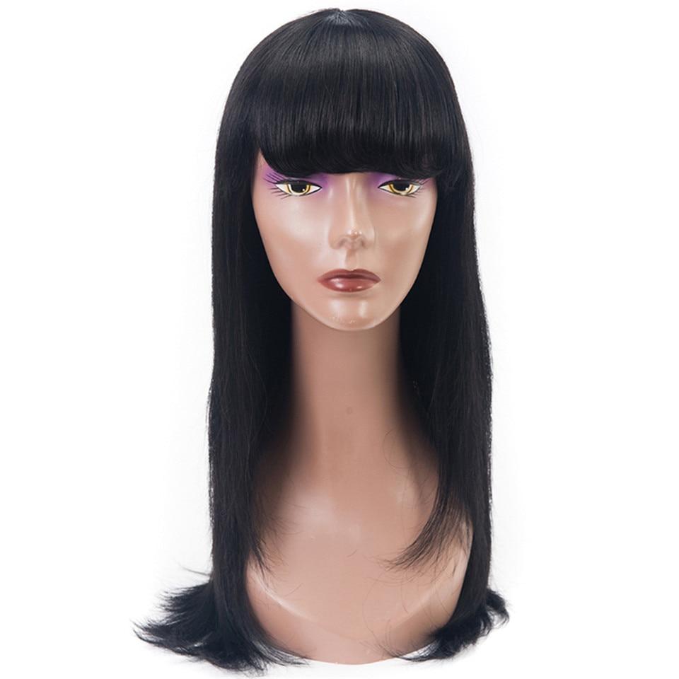 Brazilian 1B Straight Human Hair Wigs Remy Human Hair 130 Density