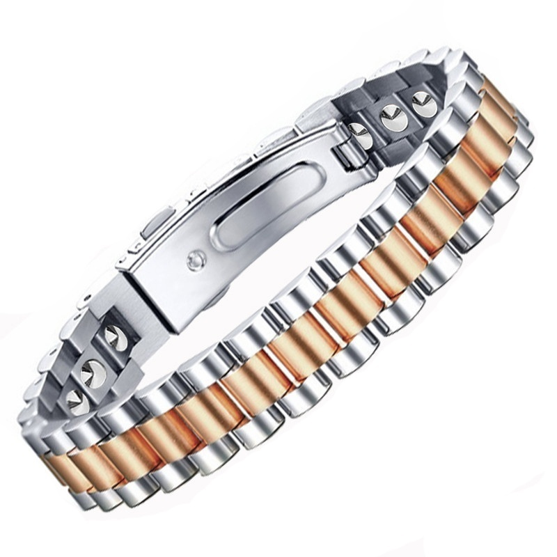 Rose Gold 99% Pure Germanium Bracelet Health 16L Stainless Steel Bangles Balance Bracelet with High Powered Magnets Energy StoneRose Gold 99% Pure Germanium Bracelet Health 16L Stainless Steel Bangles Balance Bracelet with High Powered Magnets Energy Stone