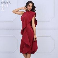 Adyce-vestido de fiesta de la pasarela para mujer, Sexy, rojo vino, sin mangas, con volantes, Midi, ceñido, novedad de verano de 2021
