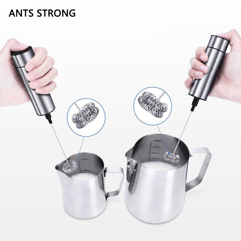ANTS STRONG Powerful handheld electric milk frother/double spring whisk head fancy coffee bubbler milk mixer