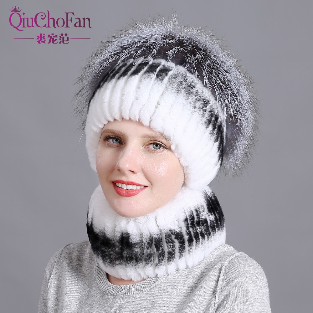 Women fur hat scarf set for winter natural rex rabbit and solid color brand new fashion street shoot