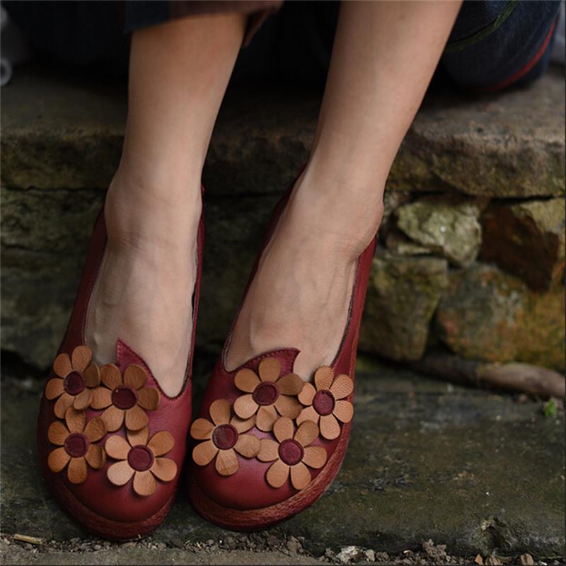 Original design aesthetic flower women shoes handmade genuine leather shoes comfortable sheepskin platform round toe flats