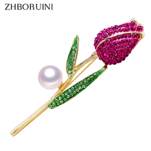 ZHBORUINI 2019 New Natural Pearl Brooch Rose Flower Corsage Breastpin Freshwater Jewelry For Women Gift Accessories