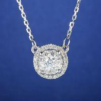 Solid 18k White Gold Cluster Natural DIamonds Pendant Women Necklace 9mm Width Engagement Wedding Valentine S