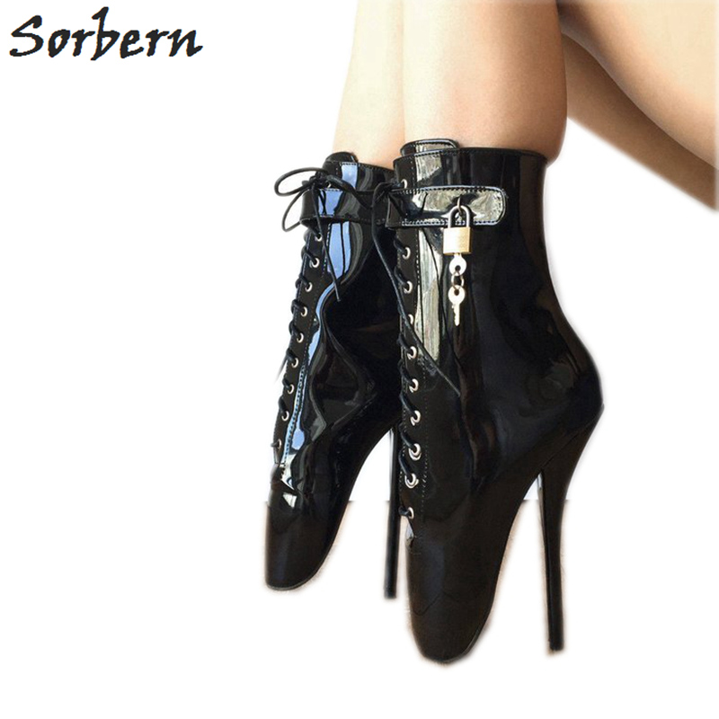 Sorbern Black Patent Ballet Stilettos Boots Ankle High Women Shoes Cross Tied Lace Up Ladies Boots Big Size 44 Booties RunwaySorbern Black Patent Ballet Stilettos Boots Ankle High Women Shoes Cross Tied Lace Up Ladies Boots Big Size 44 Booties Runway