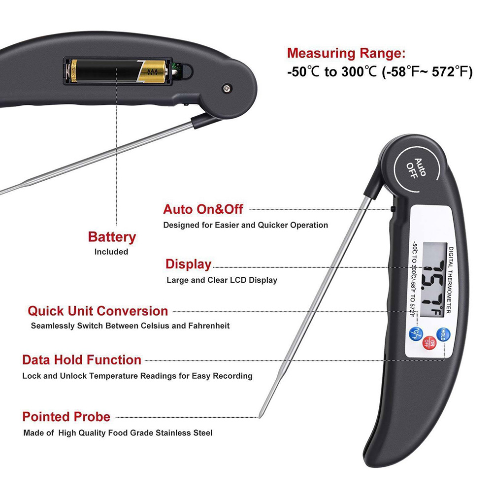 Digital Food Thermometer Probe Meat Grill BBQ Food Cooking Instant Read Kitchen Tools E2S-in Temperature Gauges from Home & Garden