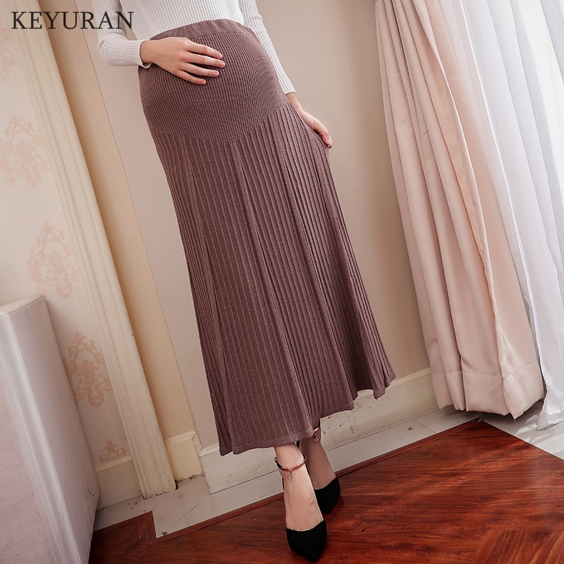 Elastic Waist Belly Maternity Long Skirt Bottoms Clothes for Pregnant Women Autumn Winter Charming Knitted Pregnancy Skirts Y276 palm leaf print elastic waist skirt