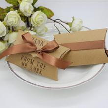 50pcs/lot Cute Kraft Paper Pillow Favor Gift Box Wedding Party Favour Candy Boxes Accessories Supply Bag New
