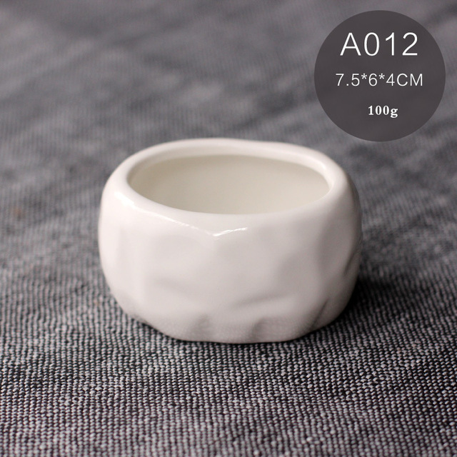 Simple white fans succulents  ceramic  zakka small bonsai pot plants vase flower container Pots
