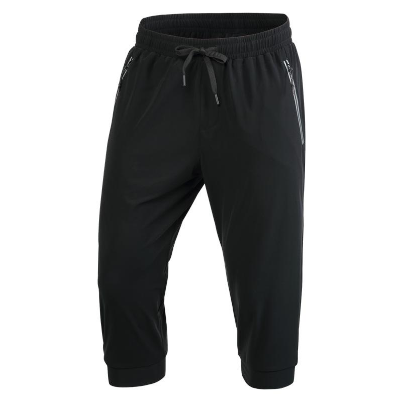 Training-Pants Jogging Running Sports Fitness Men Zip-Pockets Cropped Stretchy Breathable