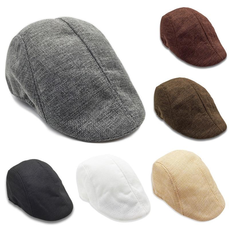 Men's Golf Cap Herringbone Wool Tweed Newsboy Retro Ivy Hat Cabbies Driving Winter Hat for Outdoor Golf Training