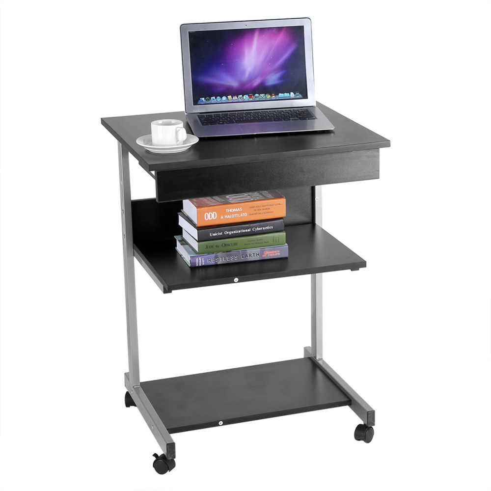 - Modern Wooden Rolling Mobile Computer Table Home Workstation