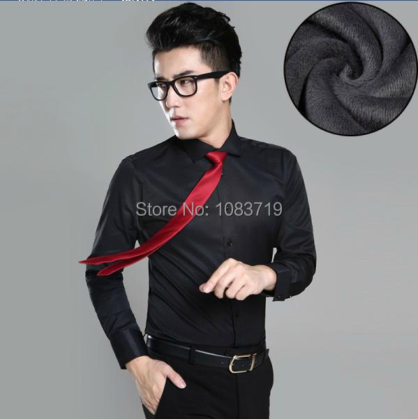 New Spring Autumn Men's Solid Color Velvet Padded Long Sleeve Business Shirts Men's social Thermal Dress shirts S-5XL camisas