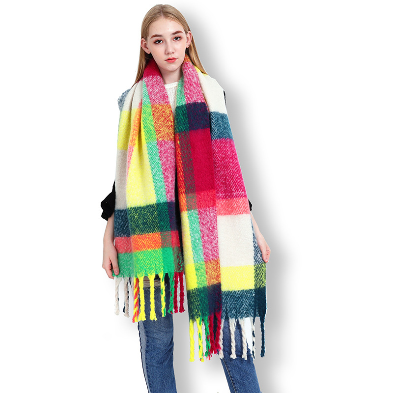Multi Color Winter Women Cashmere Chuncky Scarf Check Shawl Blanket Oversize Designer Wraps Foulard Femme  LL181047