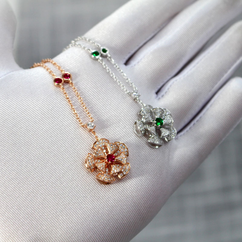 2019 new S925 pure silver fan necklace rhinestone fashion two layer fan shaped flower cluster clavicle