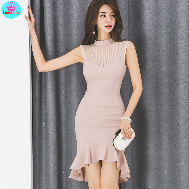 2019 summer Korean fashion ladies temperament skinny slimming sole slimming fishtail stand collar dress Knee-Length  Empire
