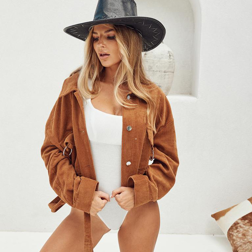 Brown Casual   Jacket   Long Sleeve Jeans Lapel Collar Single Breasted Women's   Basic     Jacket