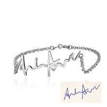 Personalized Handwritten Bracelets 925 Sterling Silver For Women Trendy Fine Jewelry Bracelets & Bangles (BA101513)
