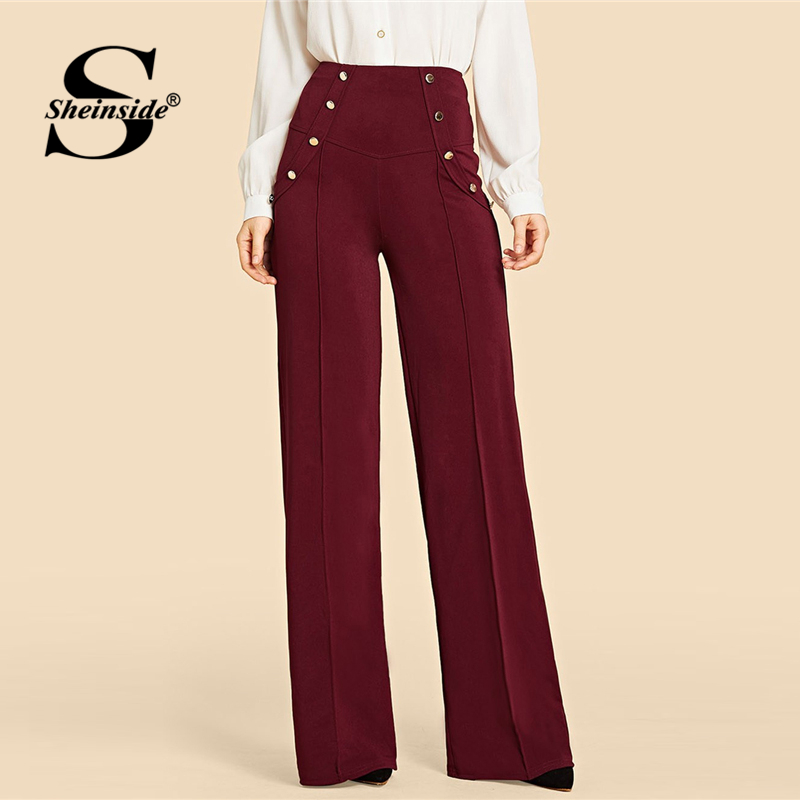 Sheinside Burgundy Vintage Double Button   Wide     Leg     Pants   Women 2019 Spring Mid Waist Solid Trousers Ladies Zipper Back   Pants
