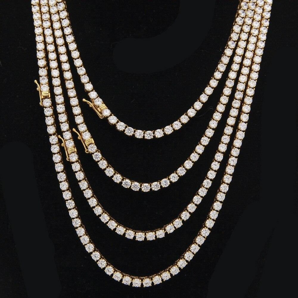 4 MM glacé CZ hommes en acier inoxydable chaînes 1 rangée Bling rond cubique zircone or argent couleur collier pour femmes Hiphop bijoux
