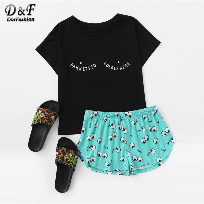 Dotfashion Tee And Allover Cartoon Eyes Print Shorts Pajama Set 2017 Multicolor Short Sleeve Cartoon Woman Clothes Pajama Set