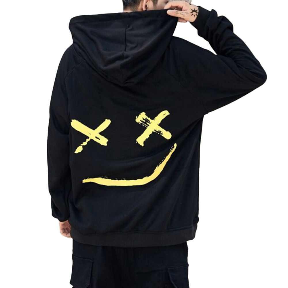 メンズパーカースウェットハッピー笑顔プリントメンズパッチワークパーカーロングスリーブフードプルオーバージャンパー DIY スウェット男性