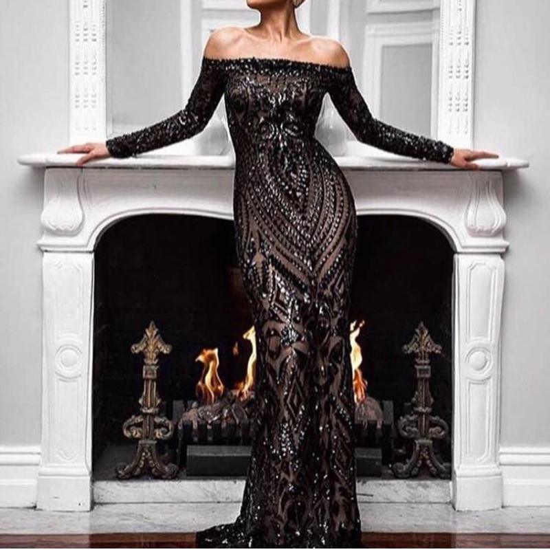 Sequined Slash Neck Maxi Dresses Off The shoulder Bodycon Backless Elegant Dress Black White Burgundy