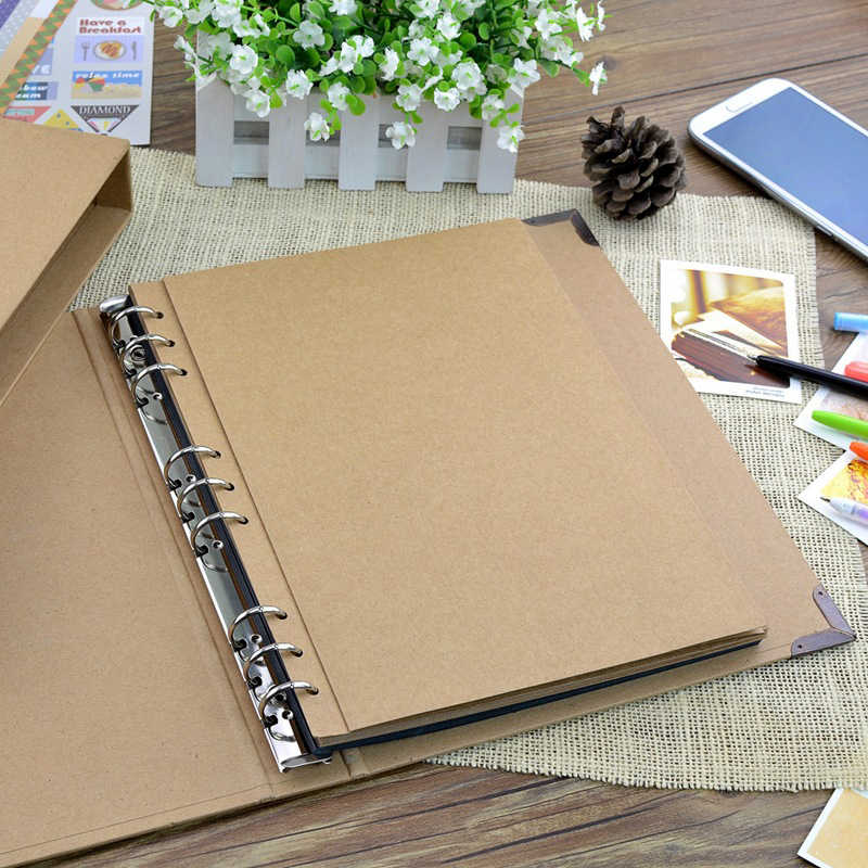 30Pages Blank/Loose-leaf Photo Album Scarpbook Handmade/Wedding/DIY/Self-Adhesive/Paper Photo Album Cover Kraft Album For Photos