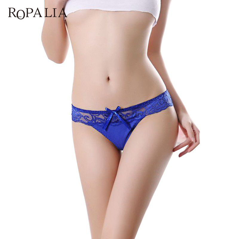 ROPALIA Sexy Women's Lace Transparent Briefs Seamless Panties V String Lingerie Panty Underwear Girls Thongs Knickers Hot S1