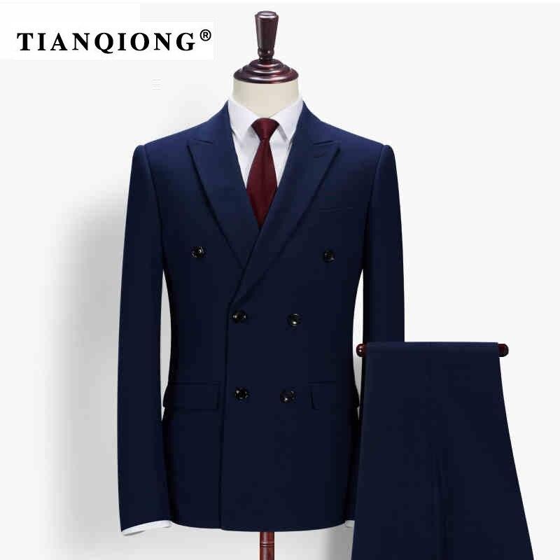Тянь qiong Для мужчин последние конструкции пальто брюки заказ Свадебный костюм этап одежда Костюмы модные Для мужчин S двубортный 2 шт. Костюм... ...